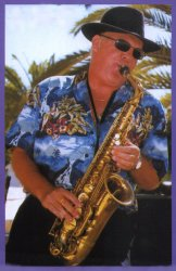 Johnny playing sax in Portugal